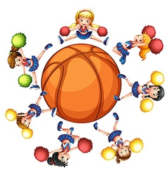 Happy cheerleaders around basketball vector image vector image