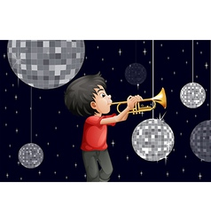 A musician surrounded with disco balls vector image vector image
