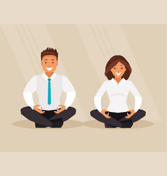 business people meditation vector image vector image