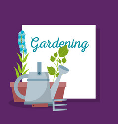 gardening lettering watering rake and pot flowers vector image