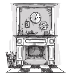 Hand drawn fireplace vector image vector image
