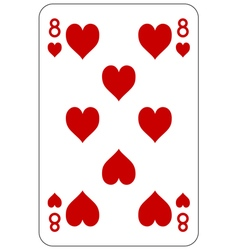 Poker playing card 8 heart vector image vector image