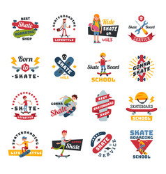 skateboarders people tricks silhouettes sport logo vector image
