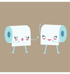 tissue toilet paper character talk to each other vector image vector image