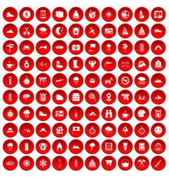 100 mountaineering icons set red vector