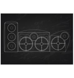3d model of speaker system on a black vector image