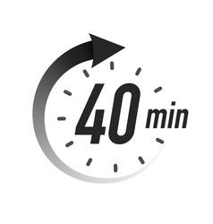 40 timer minutes symbol black style vector