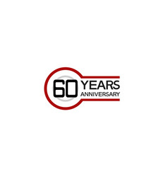 60 years anniversary with circle outline red vector