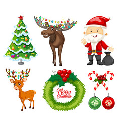 a set of christmas element vector image