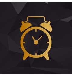 Alarm clock sign Golden style on background with vector image