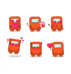 Among us orange cartoon character with love cute vector