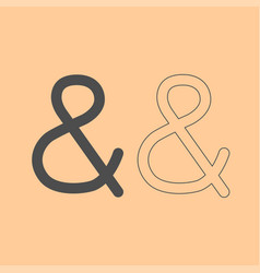 Ampersand dark grey set icon vector