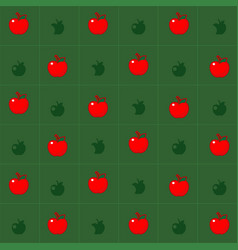 apple background is in a green grid vector image