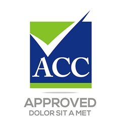 Approved icon acc concept logo design vector