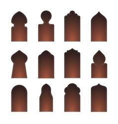 arab arch door shape set islam window gate vector image