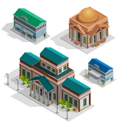 Bank and museum buildings isometric icons vector