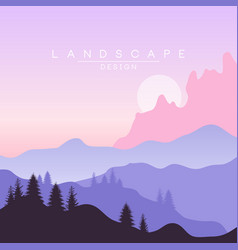 beautiful peaceful natural landscape mountainous vector image