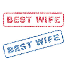 Best wife textile stamps vector