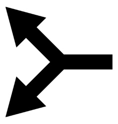 Bifurcation Arrow Left Flat Icon vector