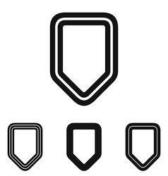 Black line shield logo design set vector