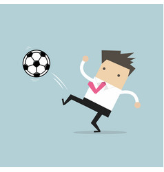 businessman kicking the ball football player vector image