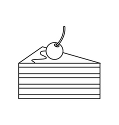 Cake with cherries icon outline style vector