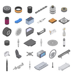 car parts icons set isometric style vector image