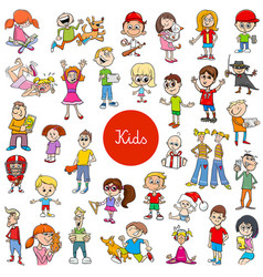cartoon children characters large collection vector image