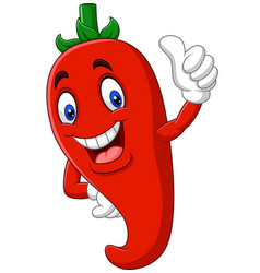 Cartoon chili pepper giving thumbs up vector