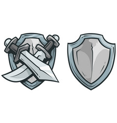 cartoon coat arms with swords and shield vector image