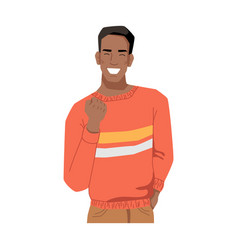 Cheerful afro american man showing victory gesture vector