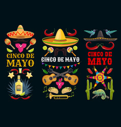 Cinco de mayo icons and lettering set vector