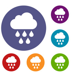 cloud with rain drops icons set vector image