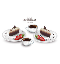 coffee cups and cake slices realistic vector image