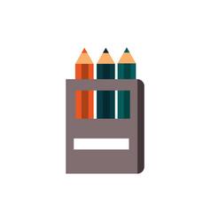 Color pencils in case supply education school icon vector