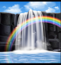 colored waterfalls realistic composition vector image