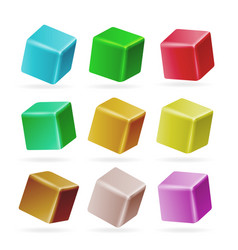 Colorful cube 3d set perspective empty vector
