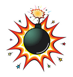 Comic black bomb explosion with a red burning wick vector