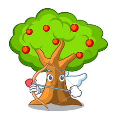 Cupid apple orchard with basket of cartoon vector