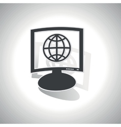 Curved globe monitor icon vector