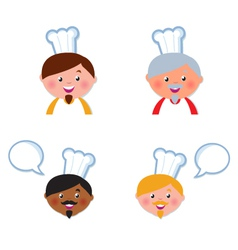 Cute chef heads vector