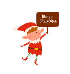 cute christmas elf holding sign with merry vector image