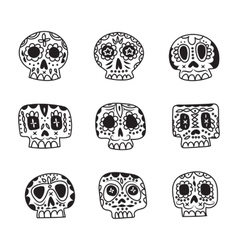 Cute ethnic Mexican sugar skulls icons vector