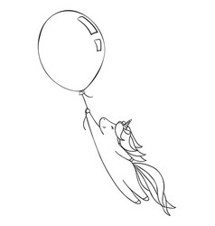 Cute little unicorn and a baloon vector