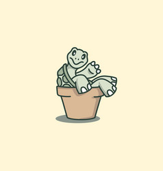 cute turtle cartoon leaning back on the pot vector image