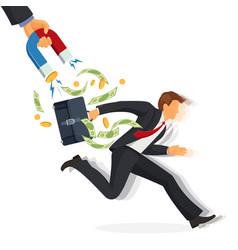 Debt collector man with money running away vector