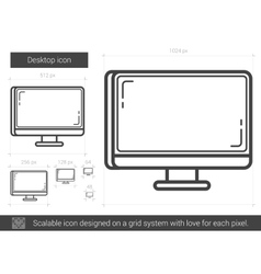 Desktop line icon vector image