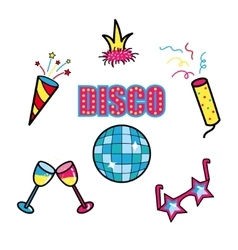 Disco club party stickers set patch symbols vector image