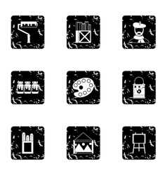 Drawing icons set grunge style vector