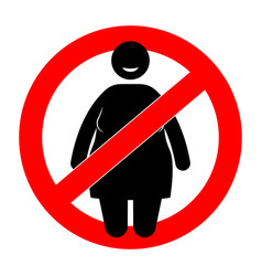 Fat woman with restriction sign overweight woman vector